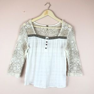 White Linen & Mesh Embroidered Peasant Blouse